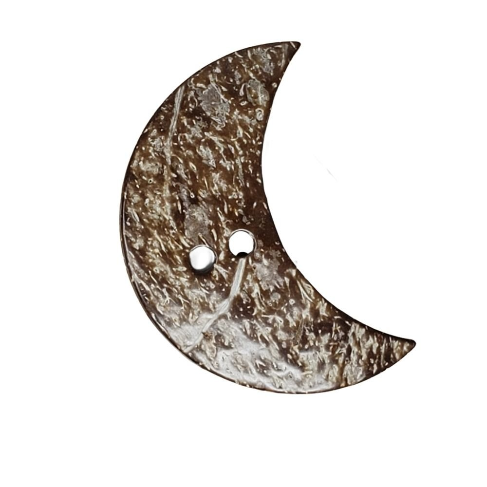 Natural Coconut Moon Button - 25mm