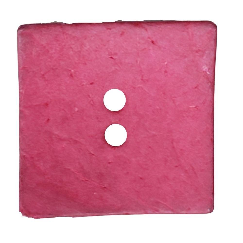 Coconut Square Button - 40mm - Tomato
