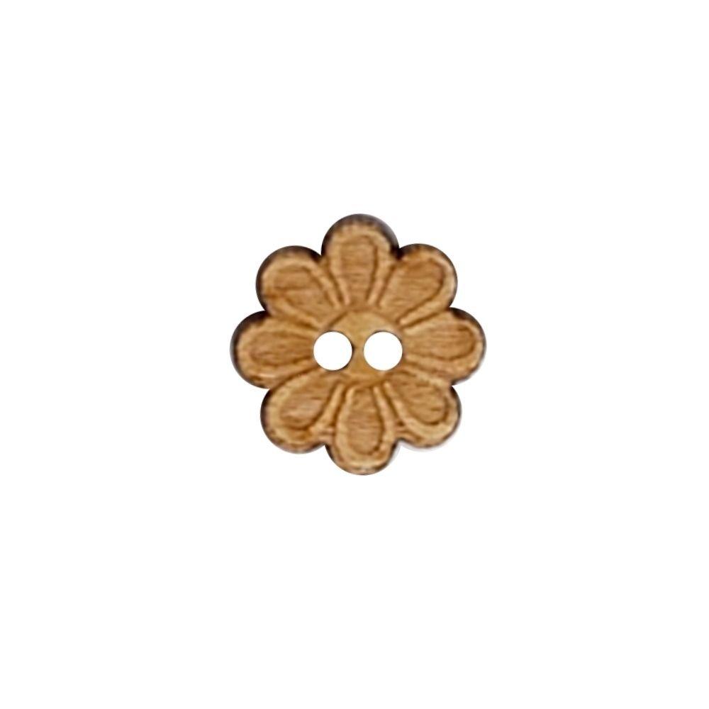Wood Flower Button - 12mm