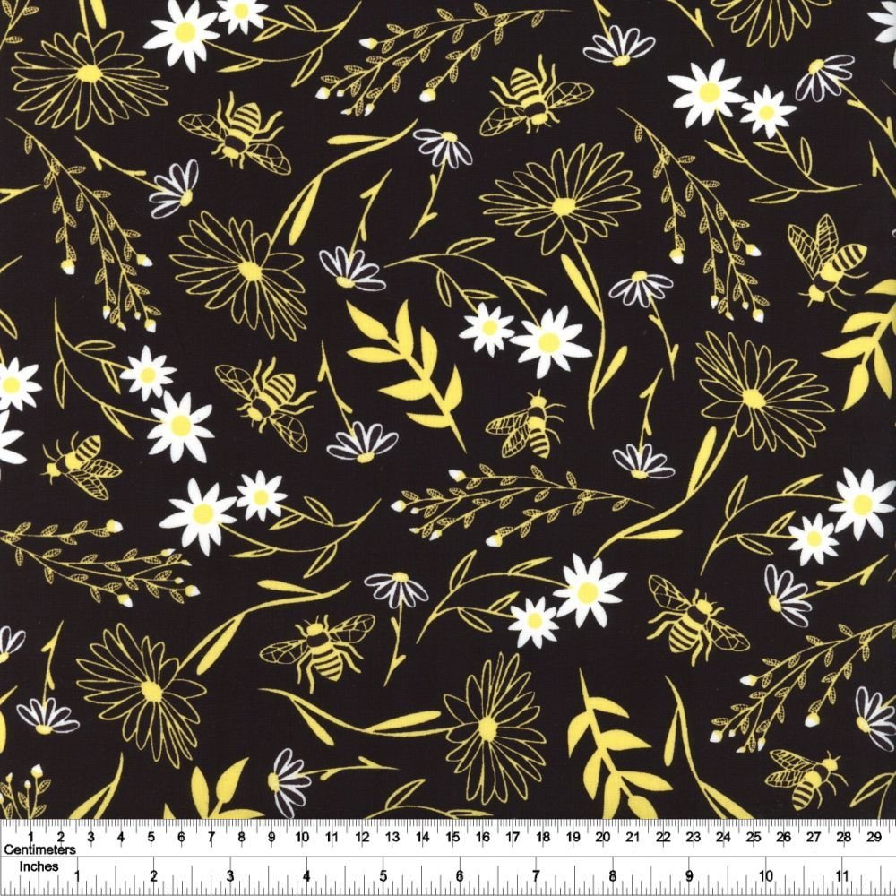 Save the Bees - Large Floral - Black