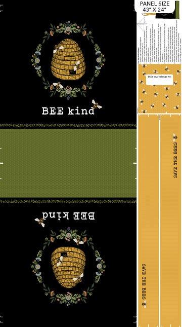 Bee Kind - Canvas Tote Bag Panel