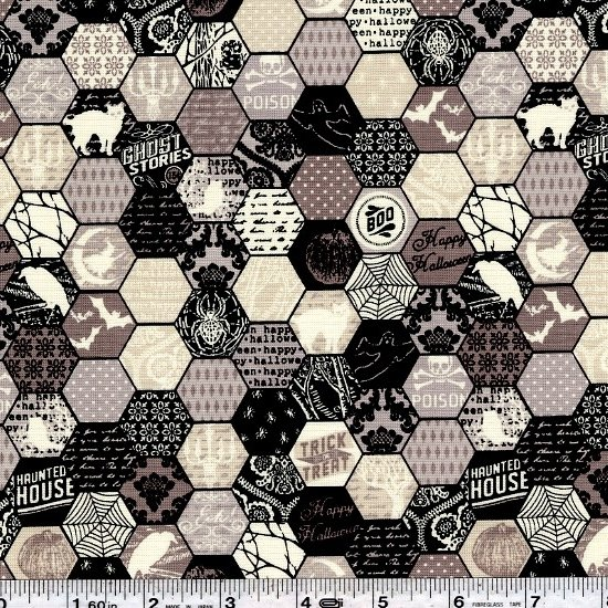 Happy Haunting - Hexagon - Grey