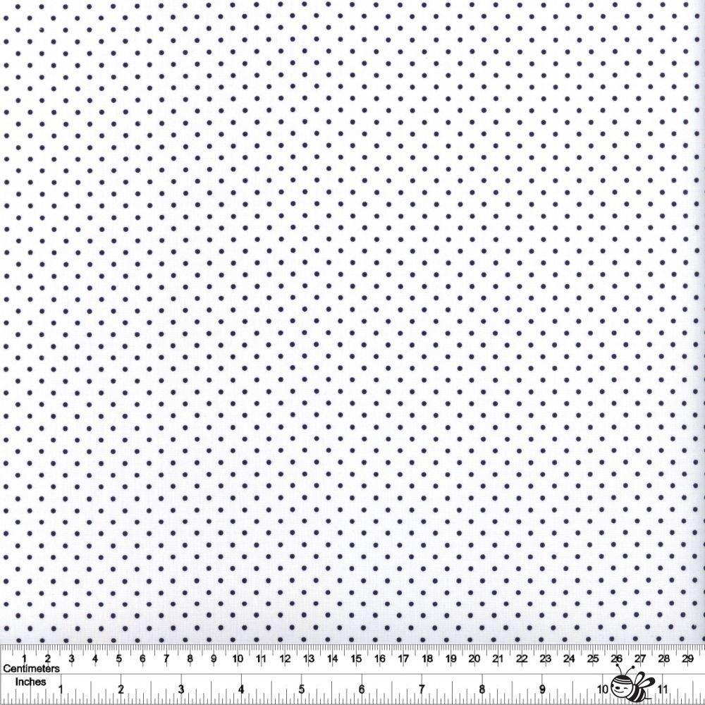 Swiss Dot - Navy on White