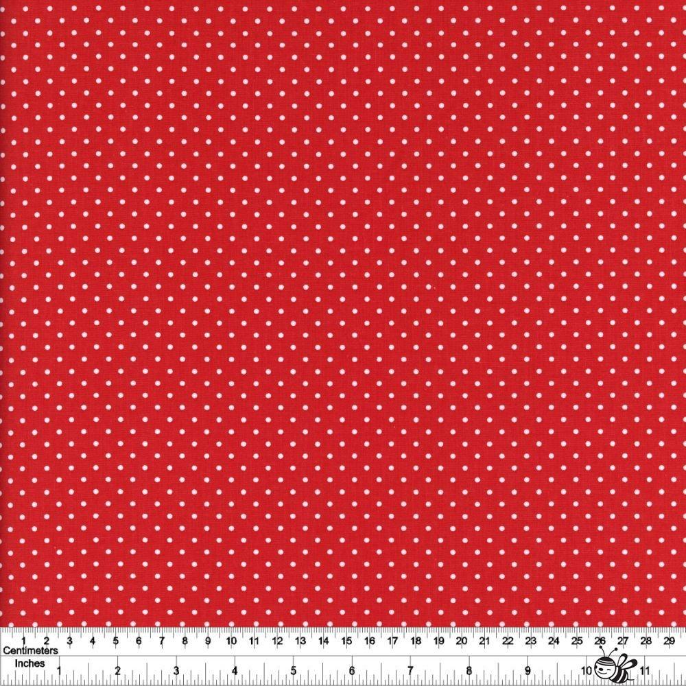 Swiss Dot - White on Red