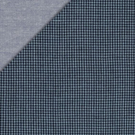 Double Cloth Cotton - Mini Check Reversible Double Gauze - Indigo