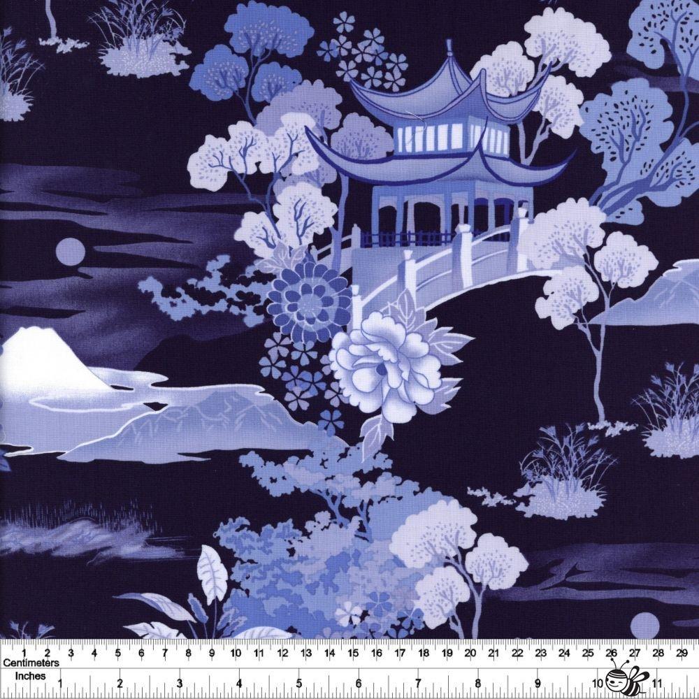 Pagoda Dreams - Landscape - Navy
