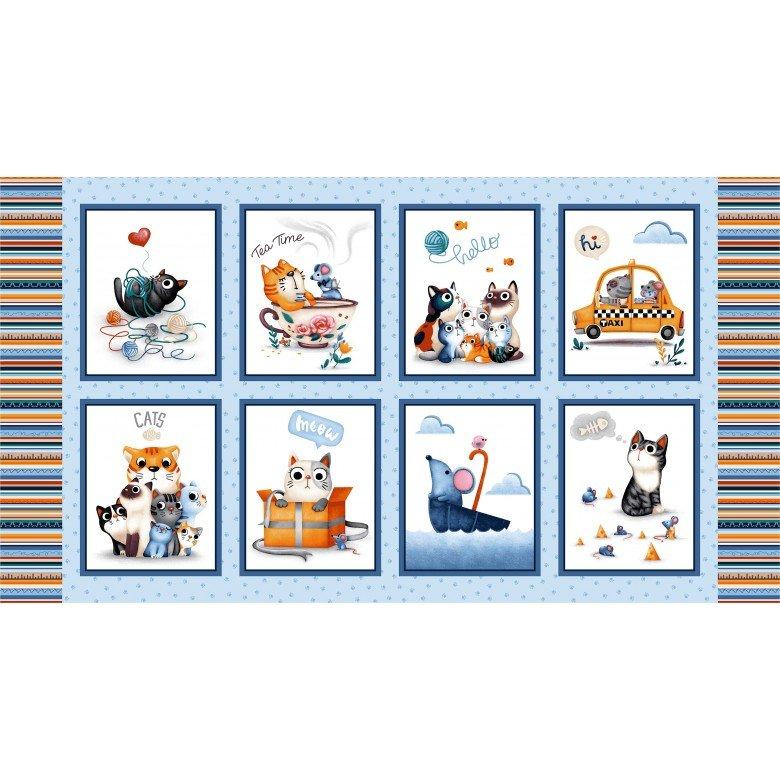 Feline Friends - Cats Panel - Blue