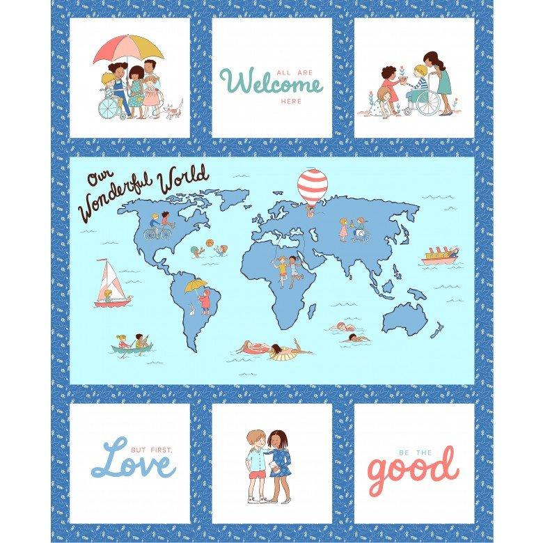 Wonderful World Panel - Blue