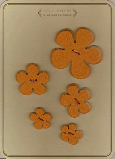 Wool Felt Buttons - Flowers - Pumpkin