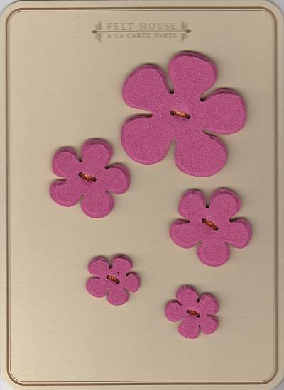 Wool Felt Buttons - Flowers - Rosy Pink