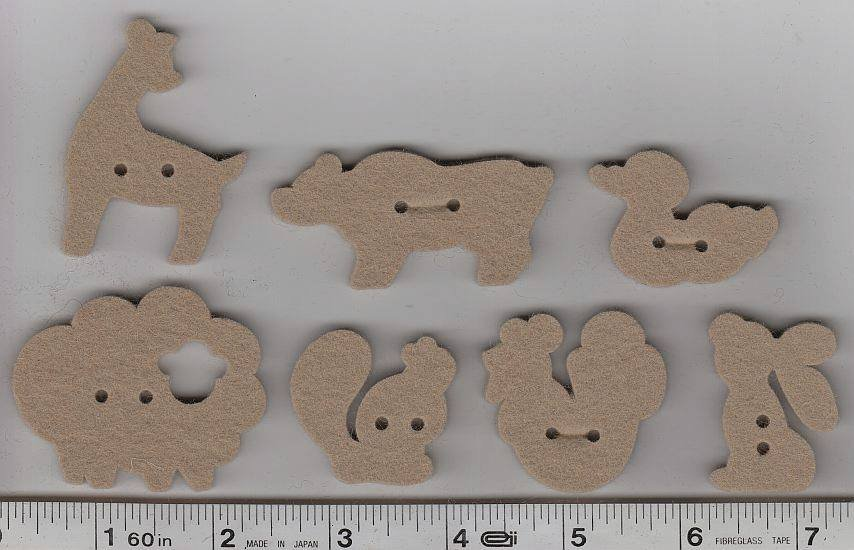 Wool Felt Buttons - Animals - Taupe