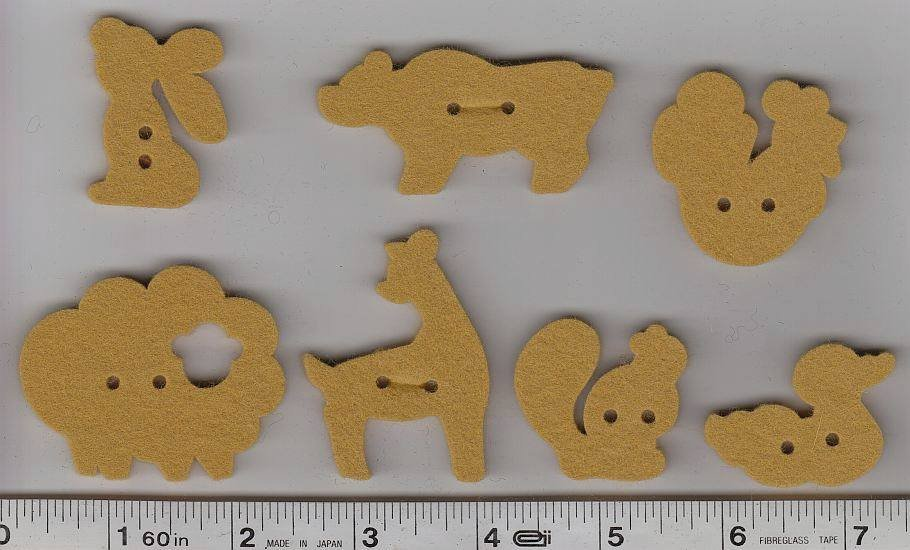 Wool Felt Buttons - Animals - Gold