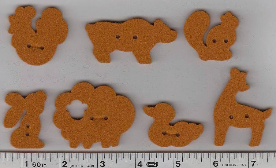 Wool Felt Buttons - Animals - Pumpkin