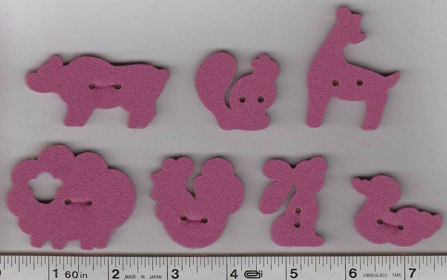 Wool Felt Buttons - Animals - Rosy Pink