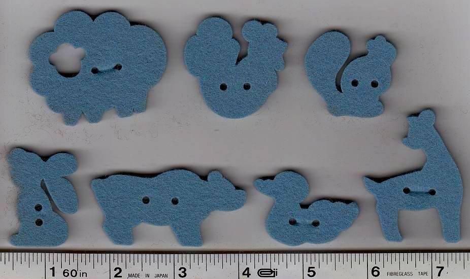 Wool Felt Buttons - Animals - Steel Blue