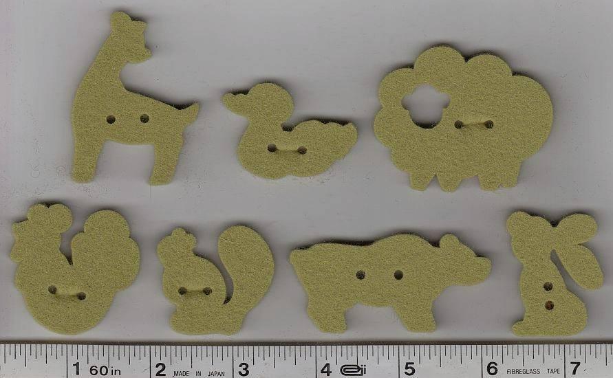 Wool Felt Buttons - Animals - Moss