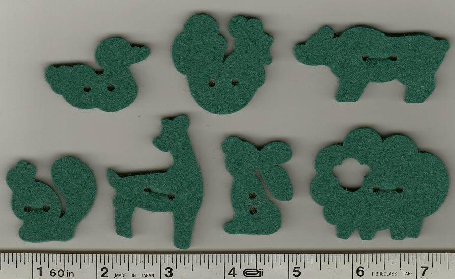 Wool Felt Buttons - Animals - Forest