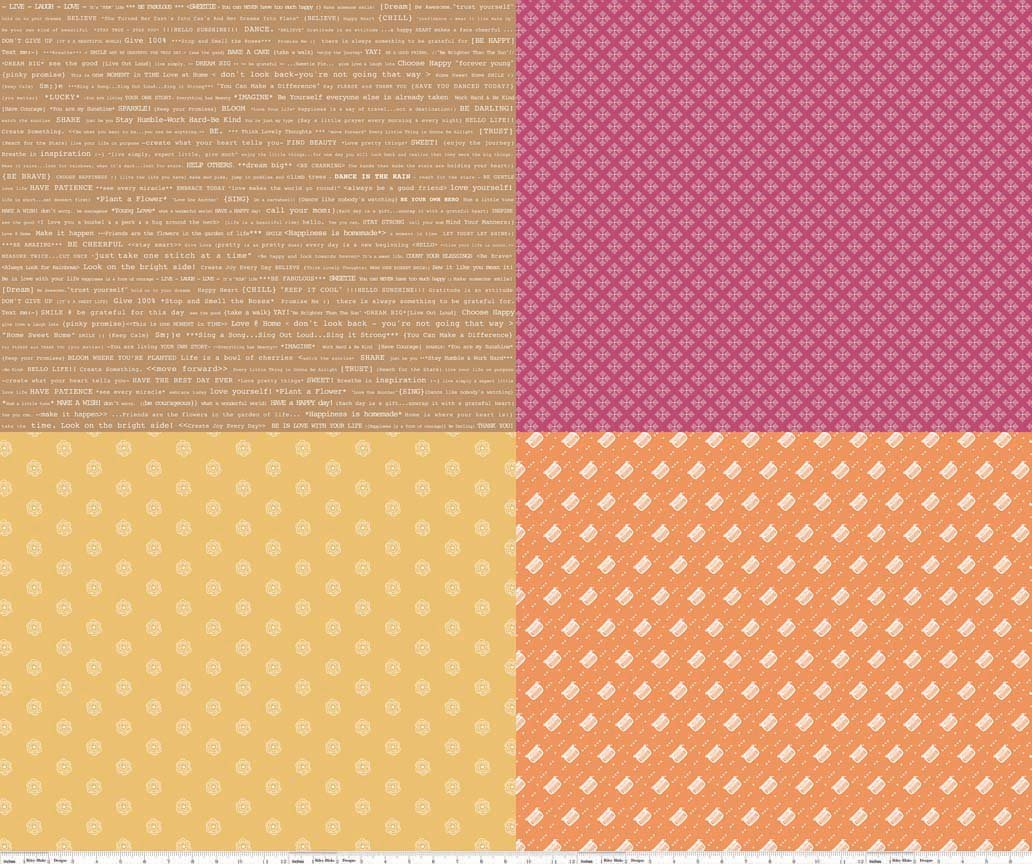 Modern Minis - Fat Quarter Panel - Orange
