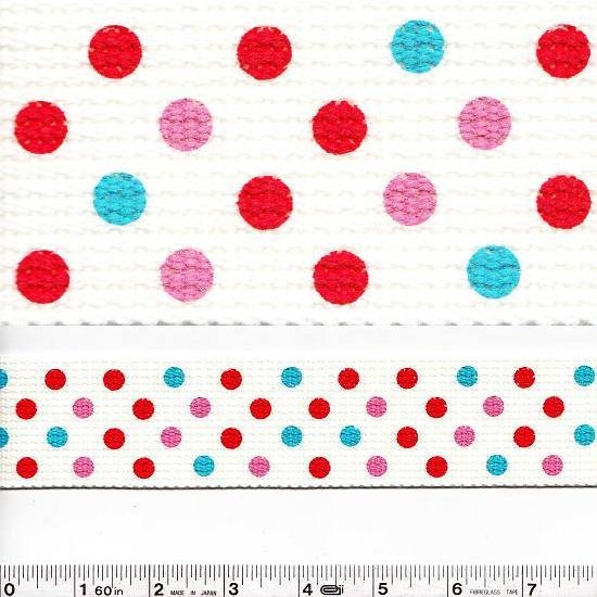 Wide Webbing - Dots - Pink & Red