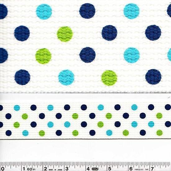 Wide Webbing - Dots - Blue & Green
