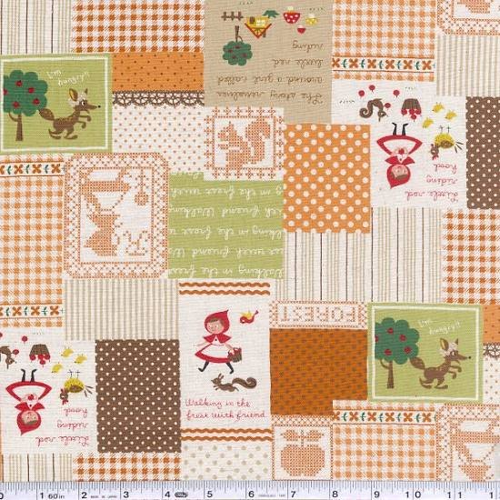 Little Red Patchwork - Orange & Green