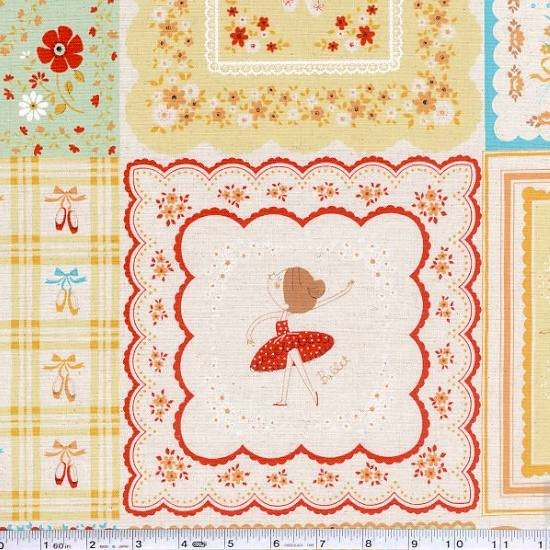 French Ballet Patchwork Panel - Apricot & Celadon