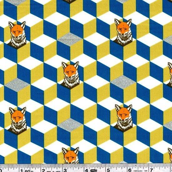 Echino Huedrawer Sateen - Fox Box - Gold & Turquoise