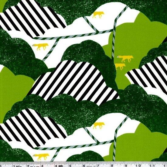 Echino Huedrawer Sateen - Cloud - Green