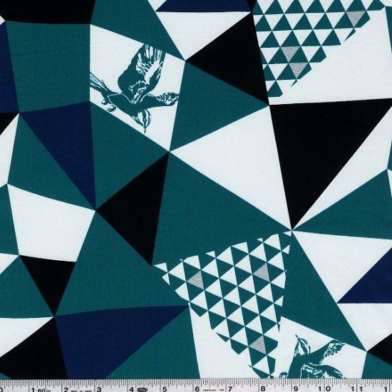 Echino Huedrawer Sateen - Mountain - Teal Blue
