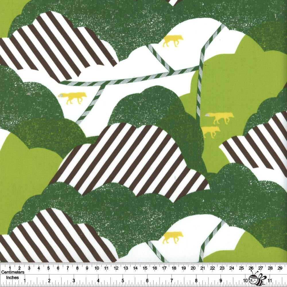 echino Huedrawer Sateen Laminate - Cloud - Green