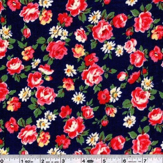 Pocket Full of Roses Gauze - Navy Blue
