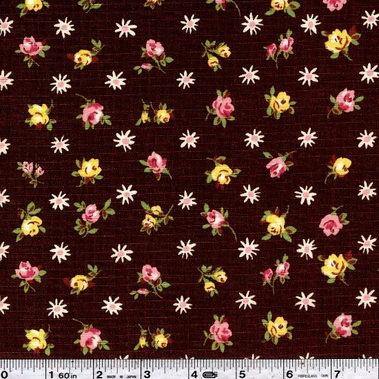 Fancy Feedsack Flowers - Brown
