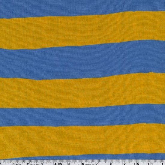 Yoshiko Jinzenji - Stripe Dot - Gold & White on Blue