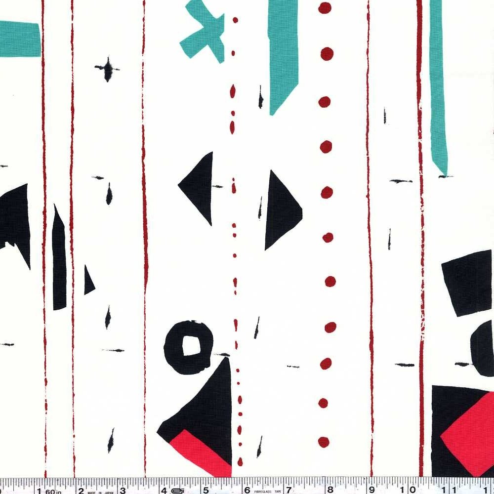 Yoshiko Jinzenji - Border - Turquoise & Red on White