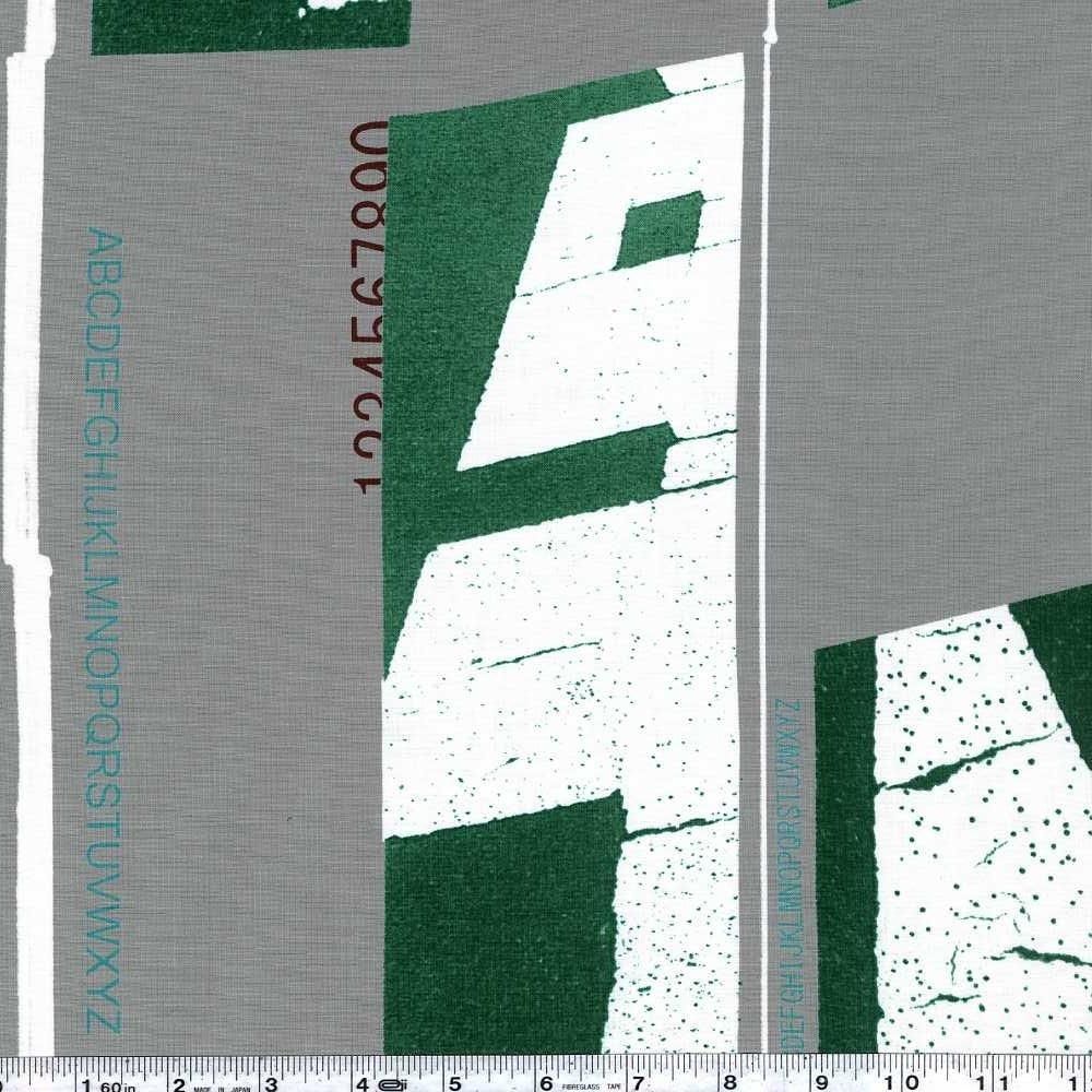 Yoshiko Jinzenji - Lines - Green & White on Grey