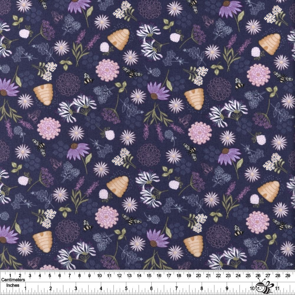 Queen Bee - Bee Floral - Dark Blue