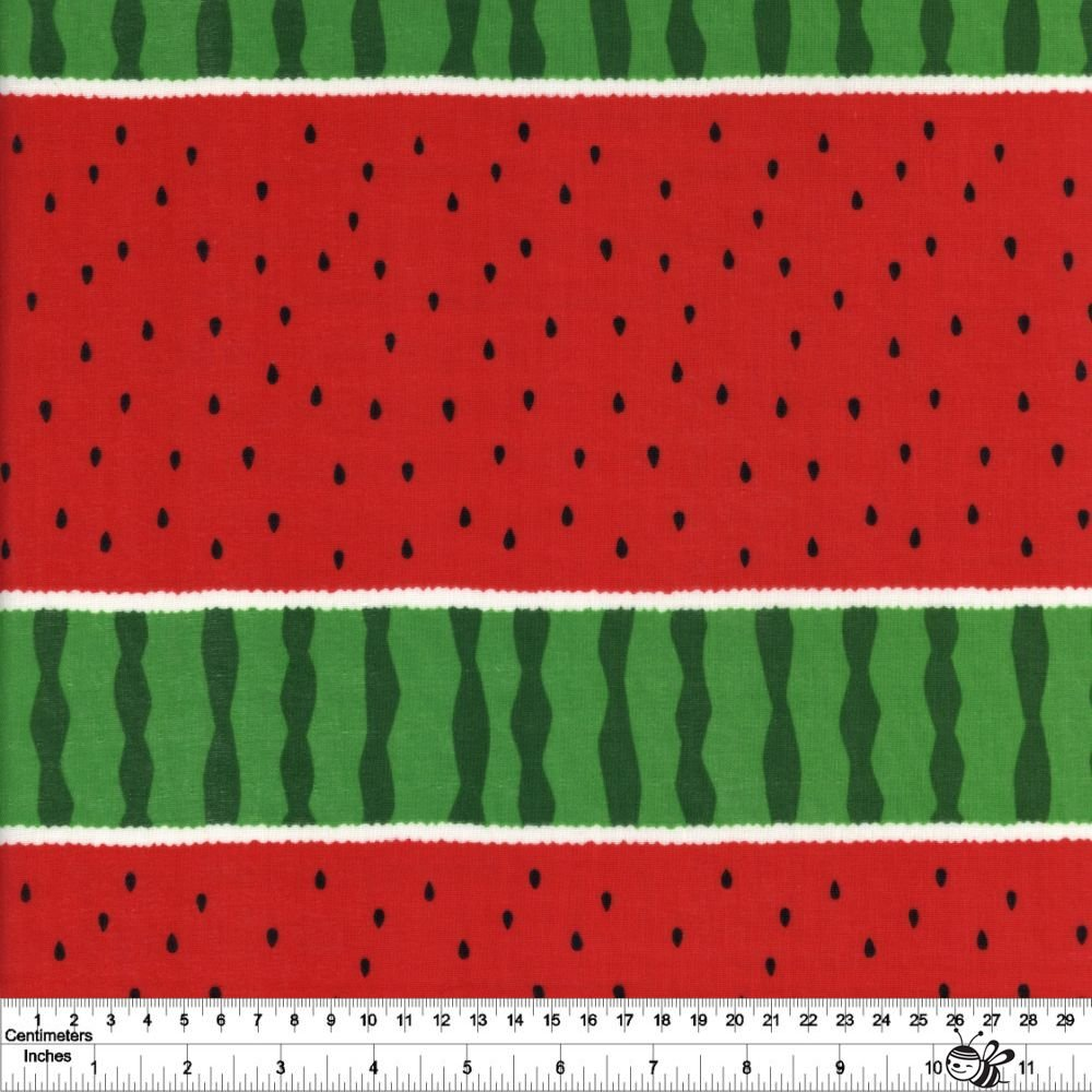 Cool Breeze - Watermelon Stripe Double Gauze - Red