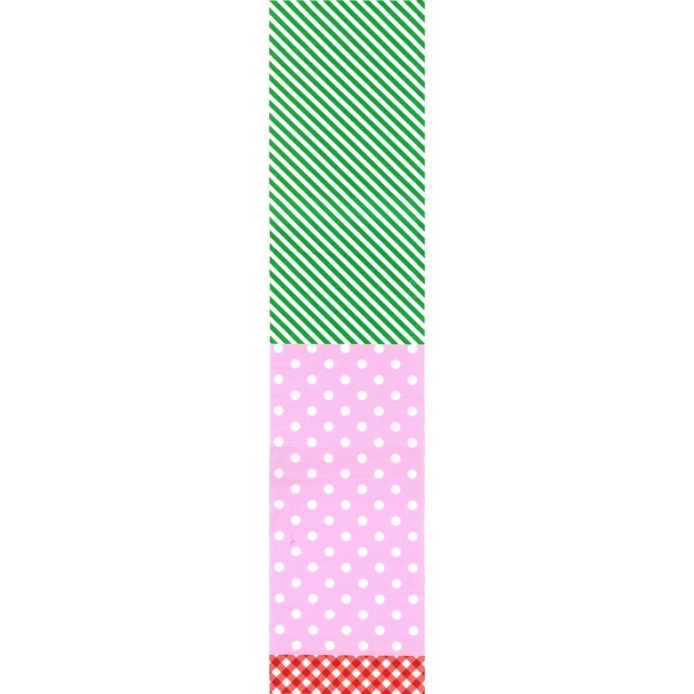 Split Fabric - Stripe Dot Check - Pink & Green