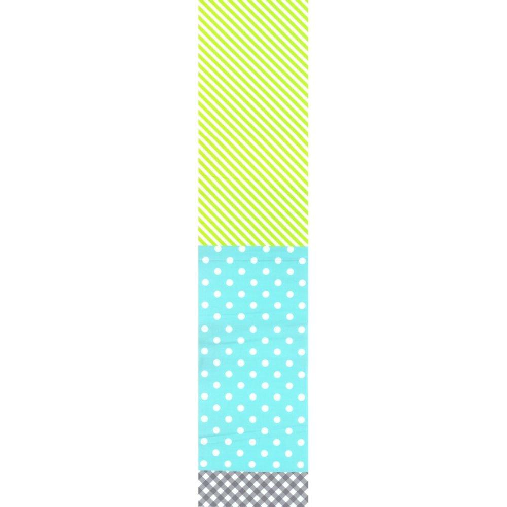 Split Fabric - Stripe Dot Check - Aqua & Lime