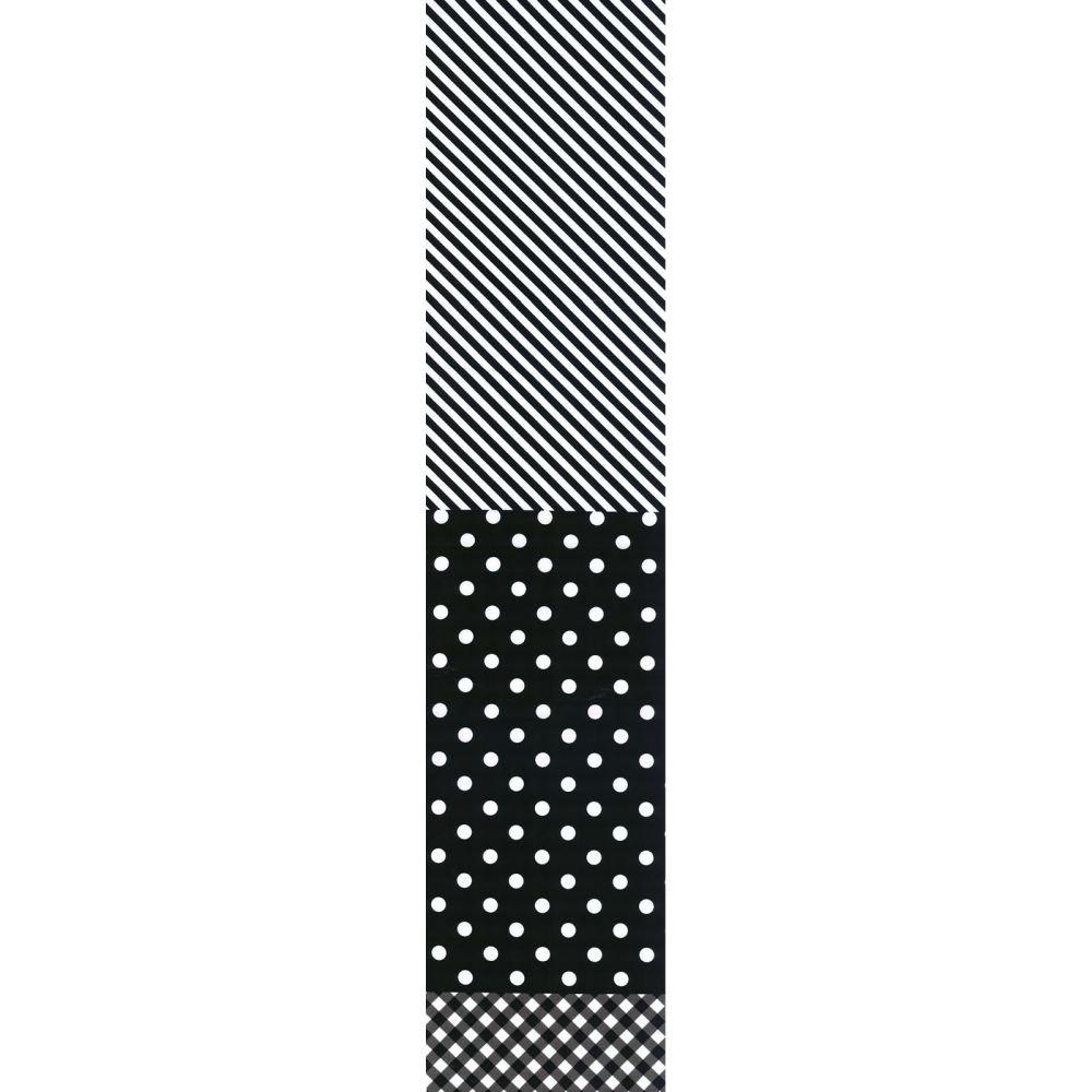 Split Fabric - Stripe Dot Check - Black & White