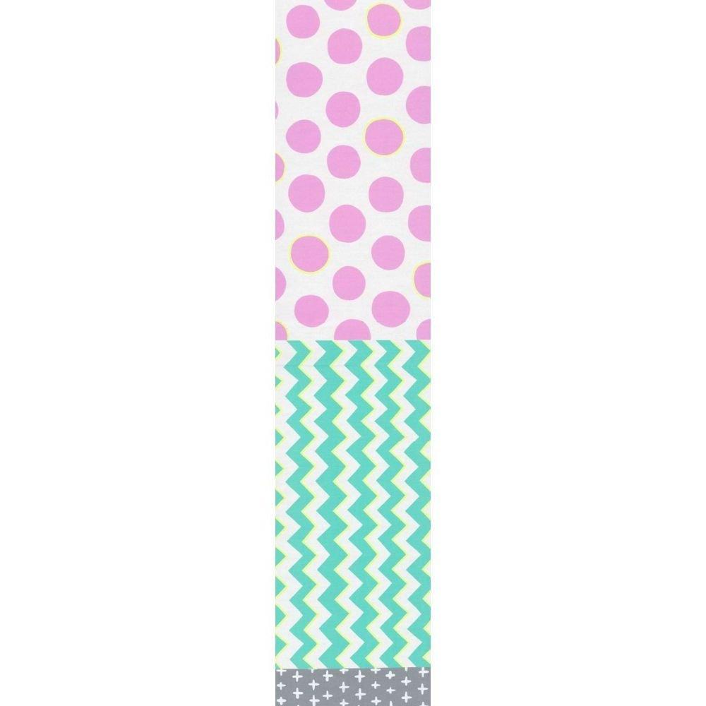 Split Fabric - Plus Zig Spot - Aqua & Pink