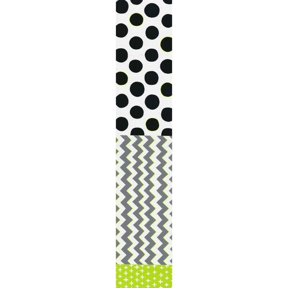 Split Fabric - Plus Zig Spot - Grey & Black