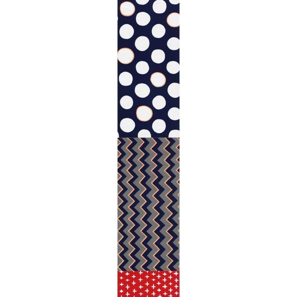 Split Fabric - Plus Zig Spot - Grey & Navy