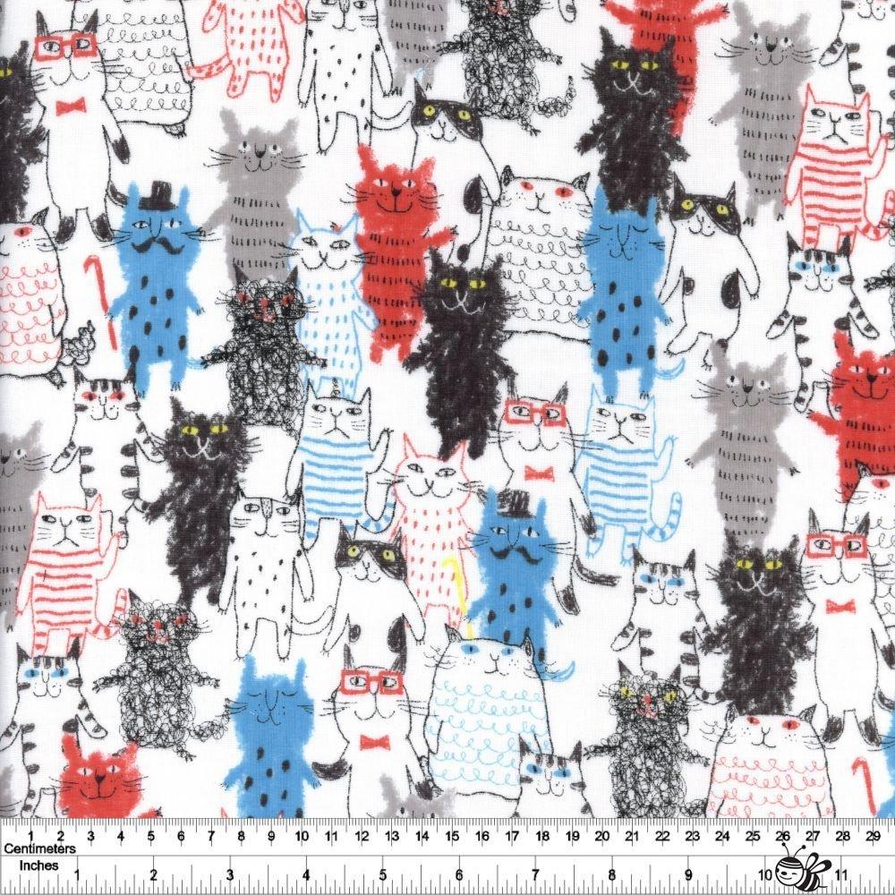 Gathering of Cats Gauze - White