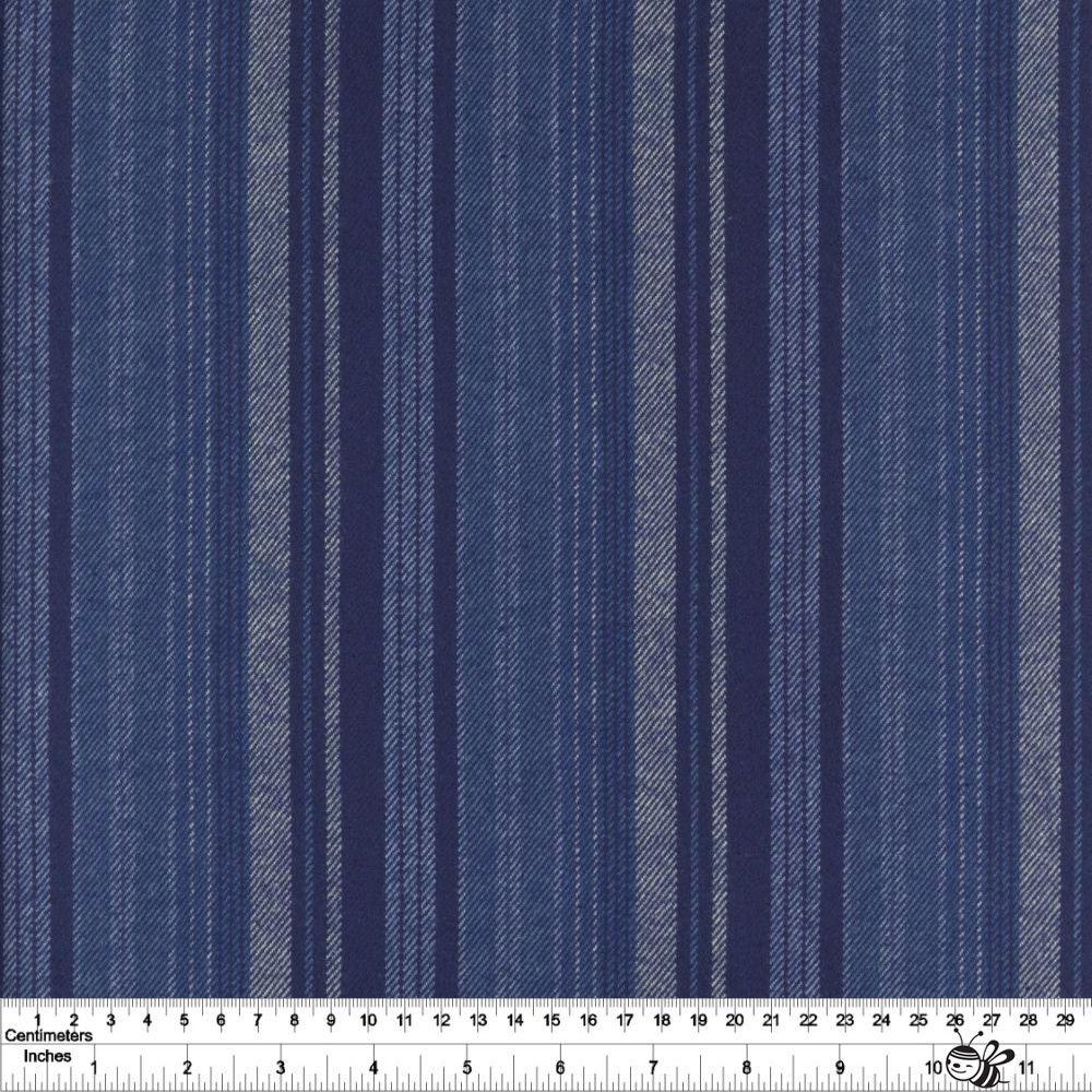 Primo Plaid Yarn Dyed Flannel - New Blues Stripe - Blue