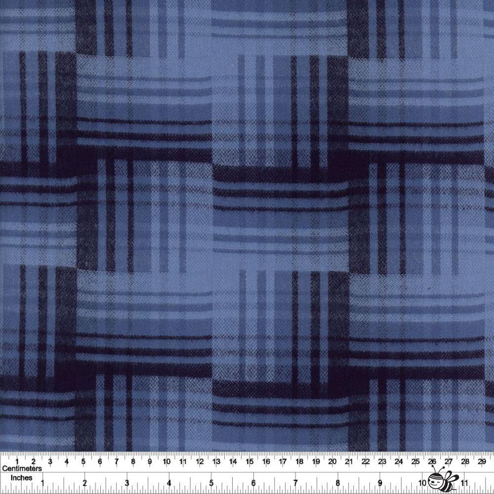 Primo Plaid Yarn Dyed Flannel - Unbalanced Plaid - Blue