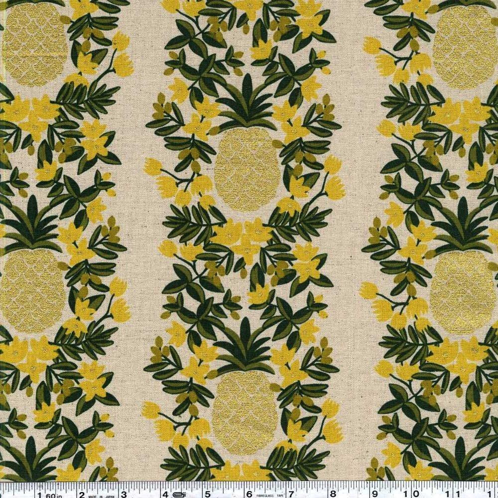 Primavera - Pineapple Stripe Canvas - Natural Metallic