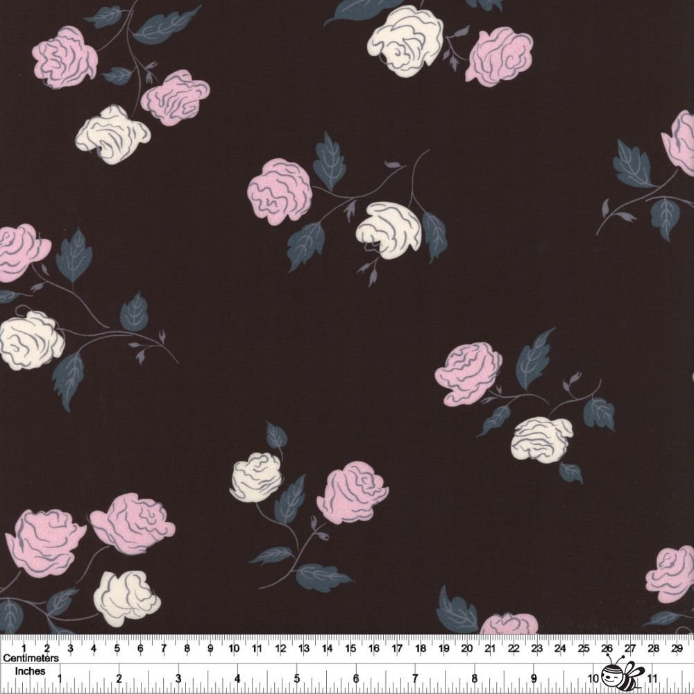 Steno Roses Rayon - Black
