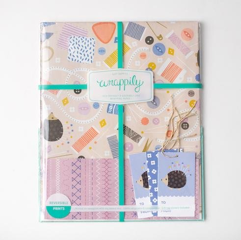 Wrappily - Sewing Themed Reversible Wrapping Paper