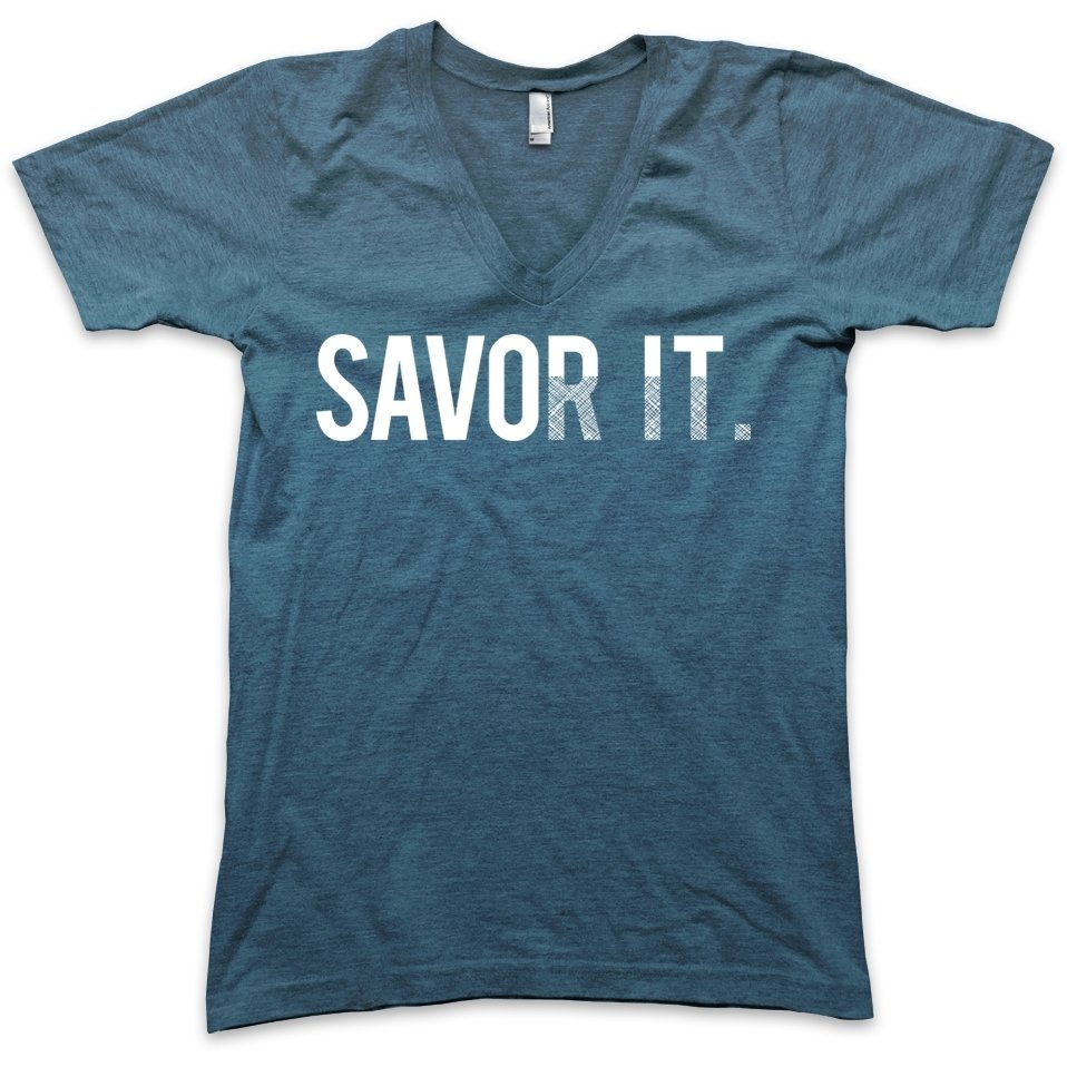 T-Shirt - Carolyn Friedlander - Savor It V-Neck - Size M